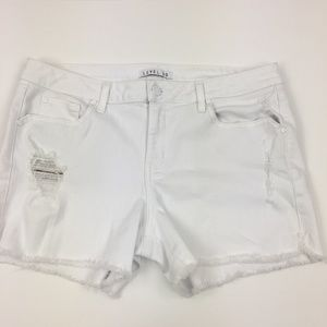 Level 99 Jeans White Distressed Cut Off Shorts 31